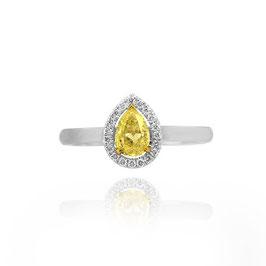 0.58 Carat, Fancy Intense Yellow Pear Shape Diamond Halo Ring, Pear, SI1