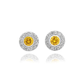 0.21 Carat, Fancy Intense Yellow Round Brilliants Diamond Halo Earrings, Round, SI1