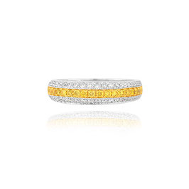 Fancy Intense Yellow and White Diamond & 18K gold Pave Band Ring weight 0.73ct
