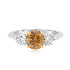 1.29 Carat, Fancy Brown Round Brilliant Three Stone Ring, Round, VS2