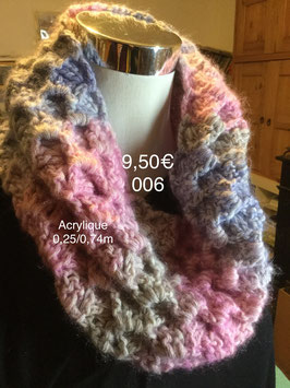 006 Snood rose/bleu