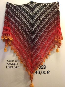 029 Châle d'été noir rouge jaune