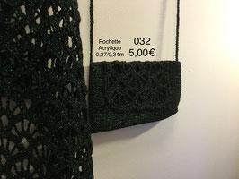 032 Etole et pochette noir pailleté vert