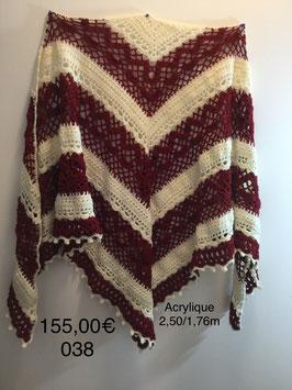 038 châle rouge pailleté/blanc