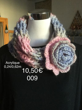 009 Snood rose/bleu à la rose