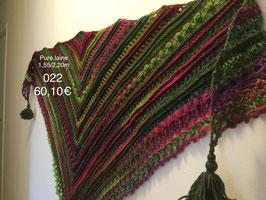 022 Châle vert mauve rose