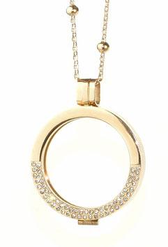 Coin-In Medaillon aus Edelstahl roségold mit Strass-Steinen