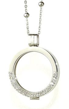 Coin-In Medaillon aus Edelstahl silber mit Strass-Steinen