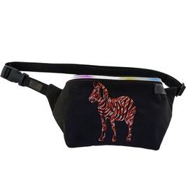 Gürteltasche - Bauchtasche - Zebra softshell schwarz/rot