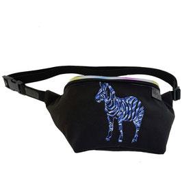 Gürteltasche - Bauchtasche - Zebra softshell schwarz/blau