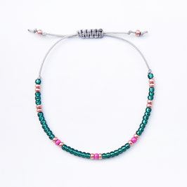 Armband dark teal/copper/pink