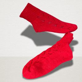 """Sockenpaar mit Lochmuster """"rot"""" Größe 39/40"""