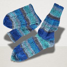 "Sockenpaar ""blau verzopft"" Größe 38/39"