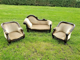 French Antique Velvet and Mahogany Children's Chaise Lounge matching sofa seats For Kids rooms