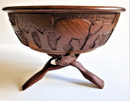 Lot Of TWO Handmade African Bowls one on Wood Tripod, Carved Olive wood Wooden Tripod Table Stand & Bowl