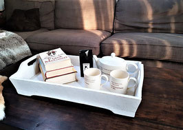 Breakfast Tray, Wood Serving Tray, White Wooden Tray