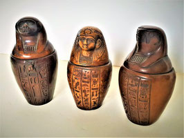 RARE Collection Set of three Egyptian Canopic Jars Organs Statues