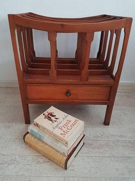 English mahogany vintage canterbury magazine rack