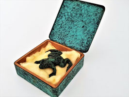 Cold Painted Bronze Frog (possibly Austrian or Russian) in Bronze hinged box