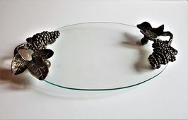 Wrought Iron & Glass Serving Tray