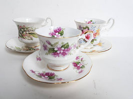 3 set Porcelain Tea Cups and Saucers Royal Albert Mismatched Tea Cups