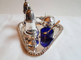 Vintage Salt and Pepper Shakers and mustard pot Tray, Condiment