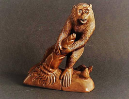 Antique Japanese Carved Wood Okimono, Monkey stealing bamboo