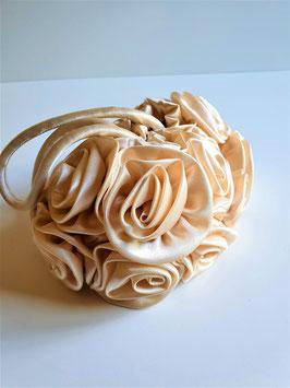 Vintage Cream Rose Petals Evening Purse, Satin Flower petals Lady Handbag
