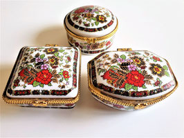 Lot of Three vintage Pill Boxes, Trinket boxes Hand Painted floral Porcelain Box