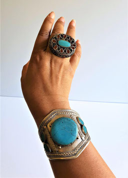 RARE Huge Turquoise gem spider web markings, Antique Afghanistan Tribal Cuff Bracelet, Afghan Antique Tribal DOUBLE finger ring Lapis Lazuli