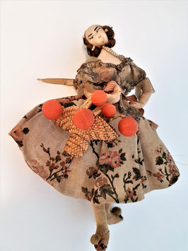Antique doll c1860 early French doll old dress