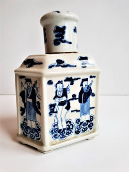 Chinese export tea caddy, Chinese Blue & White Porcelain Tea Caddy, Chinese The great Qing period