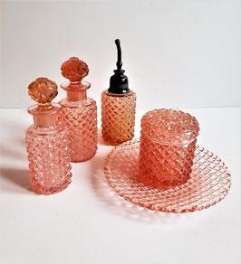 Opalescent Hobnail Vanity Set, Rose Pink Dresser Set