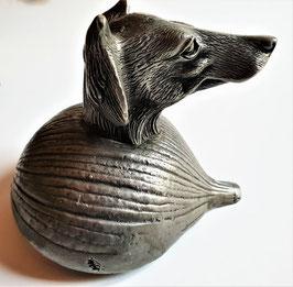 A hound's head stirrup cup, Antique Pewter/Silver Rhyton cup
