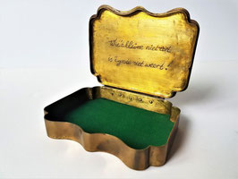 Dutch tobacco box, , 19th Century, Brass & Copper Dutch, the lid engraved