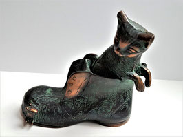 Antique cold painted bronze Puss in boots figurine