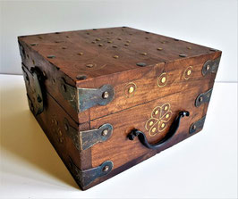 Adorable little Vintage Wooden Jewelry Accessory Box with Brass fittings and stud nails