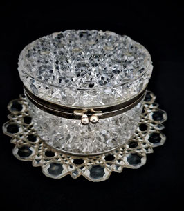 Art Deco Glass cookie container with tray, Pressed glass cookie jar with Tray
