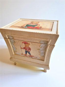Wooden storage box with lid, wooden box newspaper magazine bin
