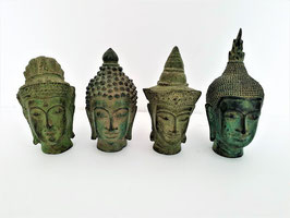 Lot of FOUR Thai Bronze Buddha Heads, Thai Verdigris Bronze Buddha Heads