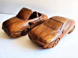 TWO LARGE Original Alfa Romeo Spiders , Scale model Hand carved wooden Car
