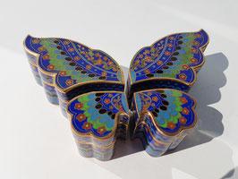 Set of 4 vintage cloisonné trinket boxes, Four bijou cloisonné lid boxes, shapes of a butterfly