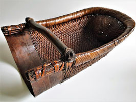Antique 19c Chinese woven wicker large spice scoop or harvesting basket
