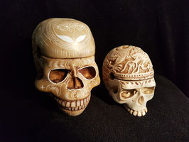 Two beautiful Handmade Kapala Skulls Carved Resin Replica of Human Skull