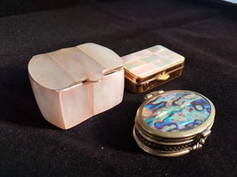 Lot of THREE Mother-of-Pearl and Abalone Trinket Boxes Shell Boxes