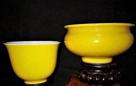TWO Chinese monochrome yellow bowl, China, Qing Dynasty, Guangxu (1875-1908)