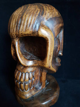 Memento mori Wood Carving Skull Carving, Three-faced head of two faces and a skull