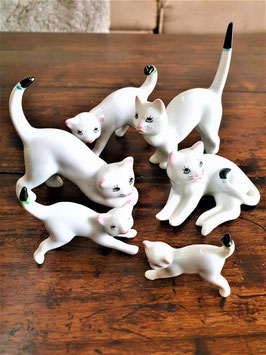 Little Asian Chinese Porcelain Cats Set of 6