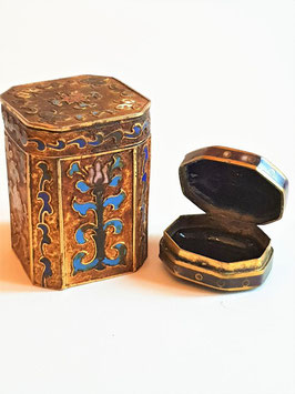 TWO very old Vintage Japanese Cloisonné Enamel Trinket Box Floral