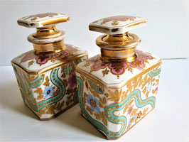 Pair Antique Tea Caddies Hand Painted Porcelain Old Paris Porcelain Tea Caddies, circa 1850
